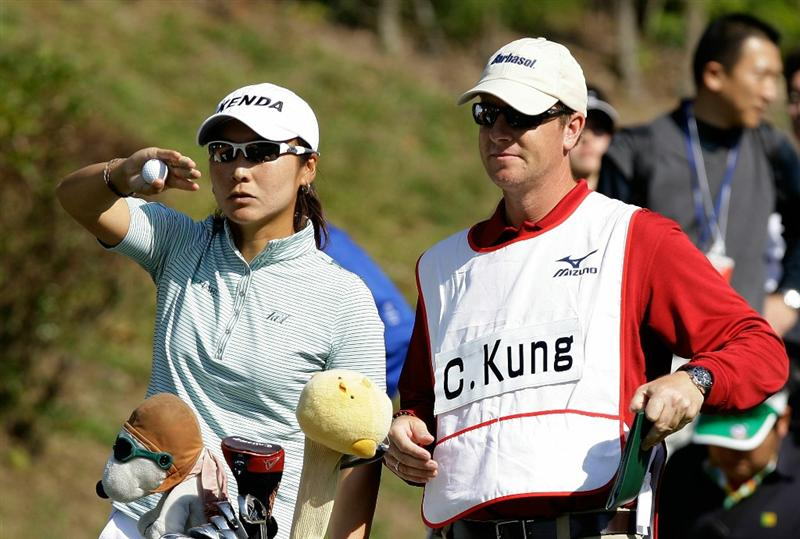 SHIMA, JAPAN - NOVEMBER 06:  Candie Kung of Taiwan on the 4th hole during round two of the Mizuno Classic at Kintetsu Kashikojima Country Club on November 6, 2010 in Shima, Japan.  (Photo by Chung Sung-Jun/Getty Images)