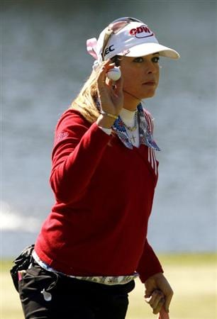 DANVILLE, CA - OCTOBER 11: Paula Creamer waves her ball to the crowd on the 7th hole during the third round of the LPGA Longs Drugs Challenge at the Blackhawk Country Club October 11, 2008 in Danville, California. (Photo by Max Morse/Getty Images)