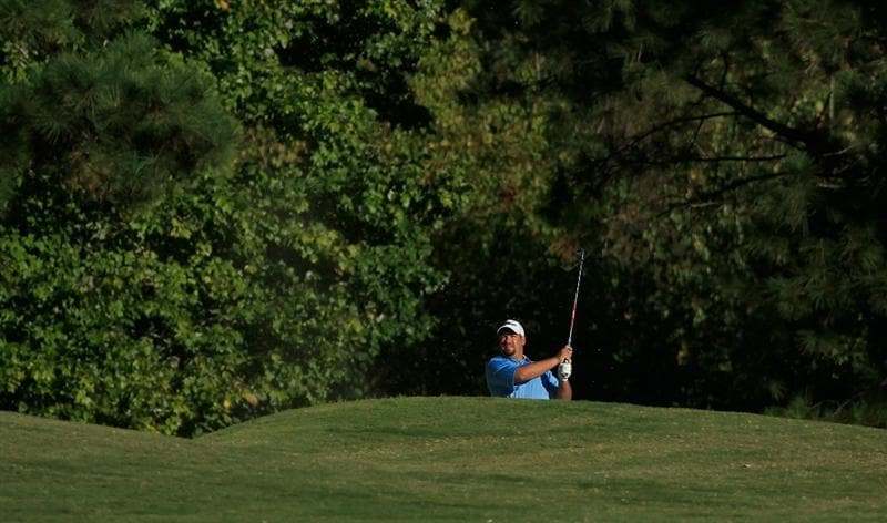MADISON, MS - OCTOBER 01:  Brendon de Jonge of Zimbabwe hits a shot from the rough during the second round of the Viking Classic held at Annandale Golf Club on October 1, 2010 in Madison, Mississippi.  (Photo by Michael Cohen/Getty Images)