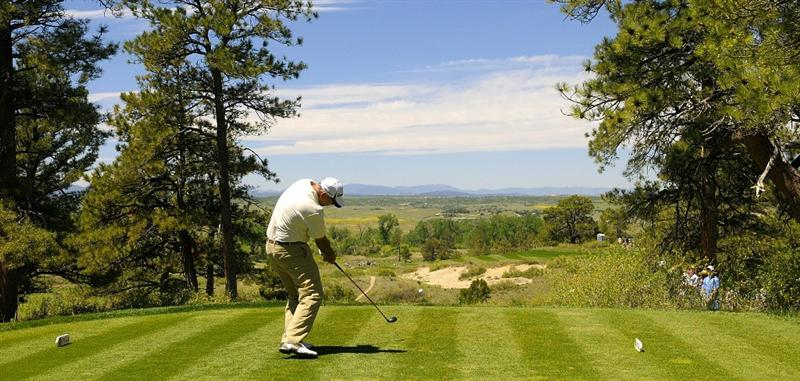 PARKER, CO. - MAY 29: Tom Lehman off the third hole during the third round of the Senior PGA Championship at the Colorado Golf Club on May 29, 2010 in Parker, Colorado.  (Photo by Marc Feldman/Getty Images)