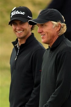 SOUTHPORT, UNITED KINGDOM - JULY 16:   Adam Scott and Greg Norman of Australia chat during the third practice round of the 137th Open Championship on July 16, 2008 at Royal Birkdale Golf Club, Southport, England. (Photo by Warren Little/Getty Images)