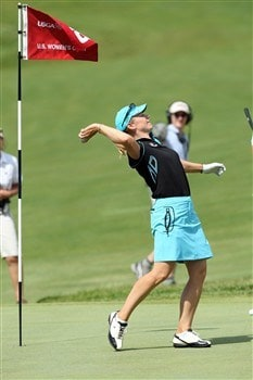 EDINA, MN - JUNE 29:  Annika Sorenstam of Sweden throws her ball into the crowd on the 18th hole after making  an eagle 3 by holing a 199 yard 6 iron shot during the final round of the 2008 US Womens Open Championship held at The Interlachen Country Club, on June 29, 2008 in Edina, Minnesota.  (Photo by David Cannon/Getty Images)