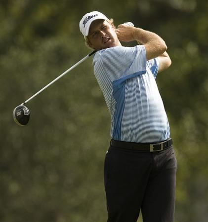 CHARLESTON, SC - OCTOBER 22: Alistair Presnell of Australia watches his drive on the third hole during the first round of the Nationwide Tour Championship at Daniel Island on October 22, 2009 in Charleston, South Carolina. (Photo by Chris Keane/Getty Images)