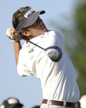 Chris Tidland tees off on the tenth hole, during third round action of the Cox Classic presented by Chevrolet at the Champions Club in Omaha, Nebraska on August 6, 2005.Photo by Peter Aiken/WireImage.com