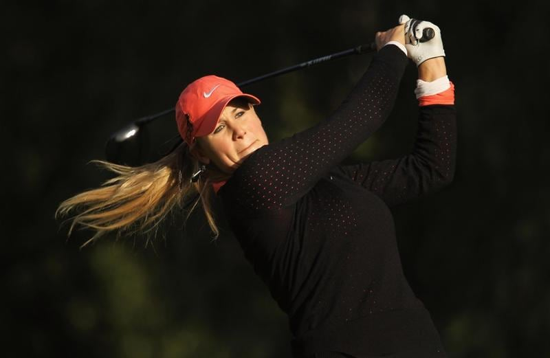 CITY OF INDUSTRY, CA - MARCH 25:  Amanda Blumenherst hits her tee shot on the 14th hole during the second round of the Kia Classic on March 25, 2011 at the Industry Hills Golf Club in the City of Industry, California.  (Photo by Scott Halleran/Getty Images)
