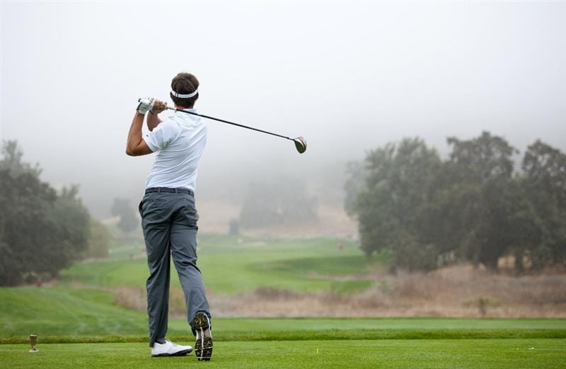 SAN MARTIN, CA - OCTOBER 16:  Jamie Lovemark makes a tee shot on the fourth hole during the third round of the Frys.com Open at the CordeValle Golf Club on October 16, 2010 in San Martin, California.  (Photo by Robert Laberge/Getty Images)