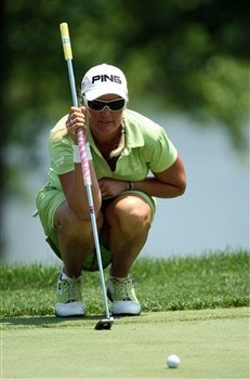 HAVRE DE GRACE, MD - JUNE 08:  Maria Hjorth of Sweden lines up a putt at the 1st hole during the final round of the 2008 McDonald's LPGA Championship held at Bulle Rock Golf Course, on June 8, 2008 in Havre de Grace, Maryland.  (Photo by David Cannon/Getty Images)