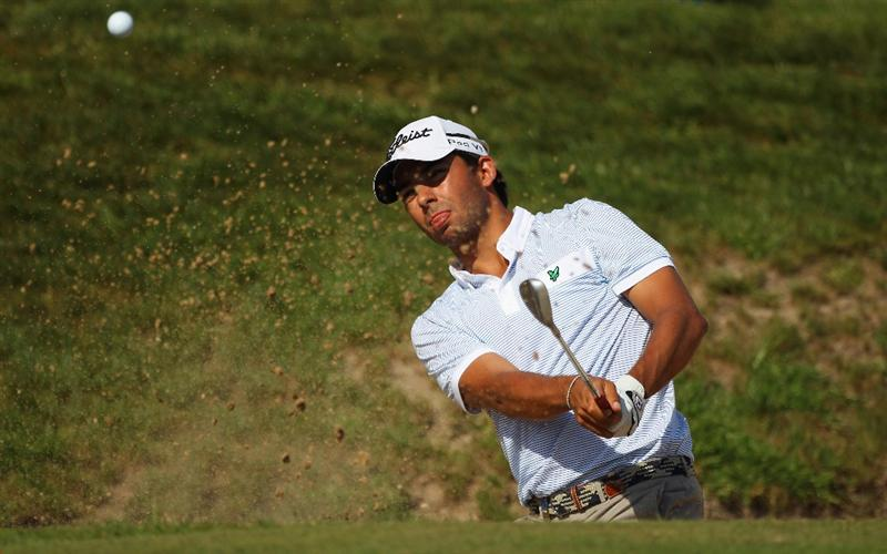 MALLORCA, SPAIN - MAY 12:  Pablo Larrazabal of Spain plays out of a bunker during day one of the Iberdrola Open at Pula Golf Club on May 12, 2011 in Mallorca, Spain.  (Photo by Julian Finney/Getty Images)