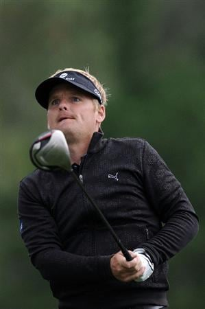 AUGUSTA, GA - APRIL 08:  Soren Kjeldsen of Denmark plays his tee shot on the 18th hole during the first round of the 2010 Masters Tournament at Augusta National Golf Club on April 8, 2010 in Augusta, Georgia.  (Photo by Harry How/Getty Images)