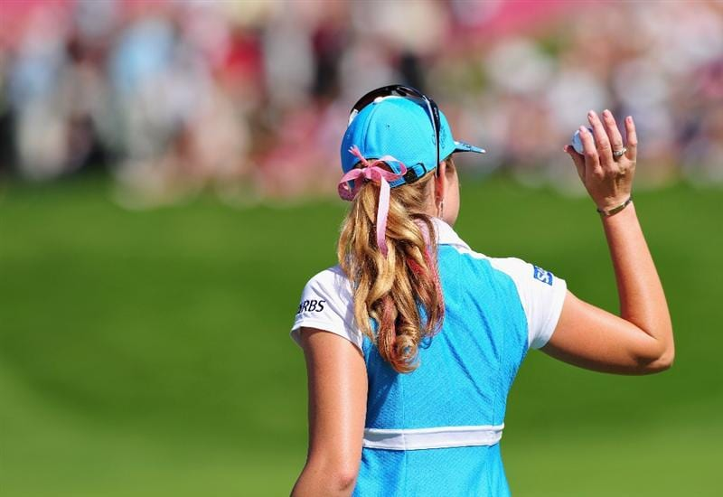 EVIAN-LES-BAINS, FRANCE - JULY 25: Paula Creamer of USA looks on during the third round of the Evian Masters at the Evian Masters Golf Club on July 25, 2009 in Evian-les-Bains, France.  (Photo by Stuart Franklin/Getty Images)