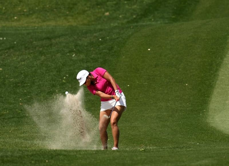 RANCHO MIRAGE, CA - APRIL 04:  Jimin Kang of Korea hits from a bunker on the second hole during the third round of the Kraft Nabisco Championship at Mission Hills Country Club on April 4, 2009 in Rancho Mirage, California.  (Photo by Stephen Dunn/Getty Images)