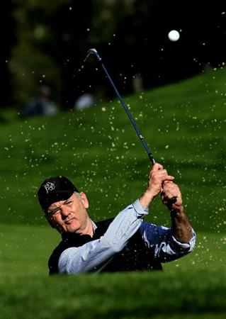 PEBBLE BEACH, CA - FEBRUARY 12:  Actor Bill Murray hits out of a bunker on the eighth hole during the second round of the AT&T Pebble Beach National Pro-Am at Spyglass Hill Golf Course on February 12 2010 in Pebble Beach, California. (Photo by Stephen Dunn/Getty Images)