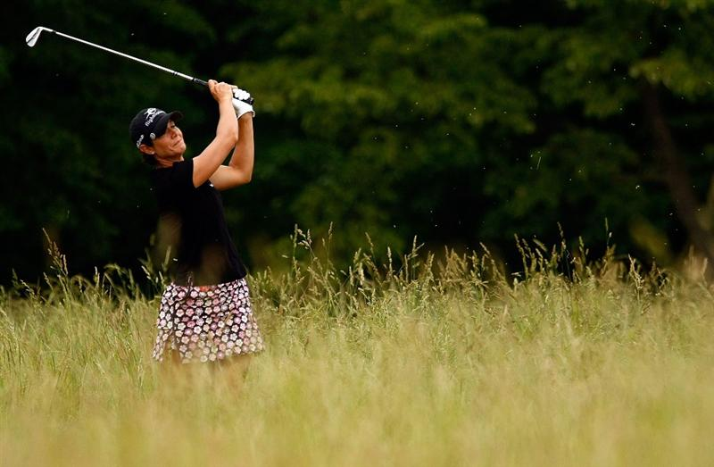 HARVE DE GRACE, MD - JUNE 11: Laura Diaz plays a shot from the rough on the tenth hole during the first round of the McDonald's LPGA Championship Classic at the Bulle Rock Golf Course on June 11, 2009 in Harve de Grace, Maryland.  (Photo by Scott Halleran/Getty Images)