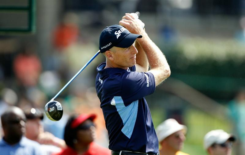 DUBLIN, OH - JUNE 04:  Jim Furyk watches his tee shot on the tenth hole during the second round of the Memorial Tournament presented by Morgan Stanley at Muirfield Village Golf Club on June 4, 2010 in Dublin, Ohio.  (Photo by Scott Halleran/Getty Images)