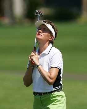 RANCHO MIRAGE, CA - APRIL 1: Catriona Matthew is dejected after missing a putt on the 15th green during the final round of the LPGA Kraft Nabisco Championship at the Mission Hills Country Club on April 1, 2007 in Rancho Mirage, California.  (Photo by Robert Laberge/Getty Images)