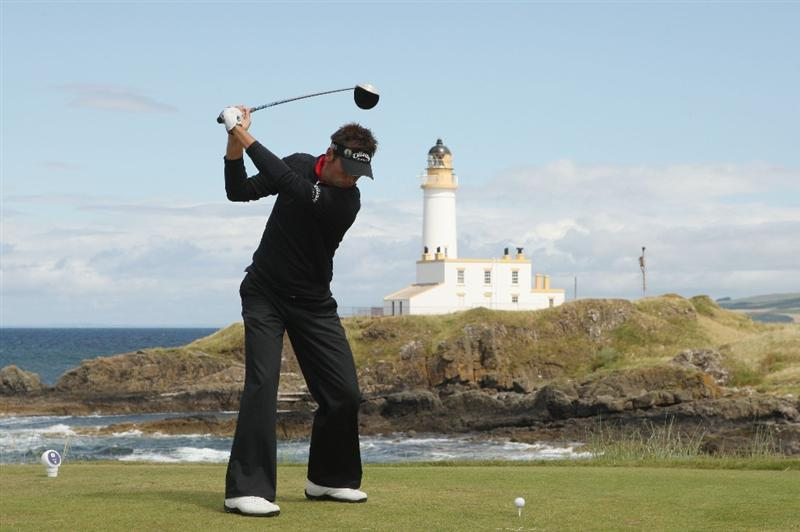TURNBERRY, SCOTLAND - JULY 19:  Nick Dougherty of England tees off on the 9th hole during the final round of the 138th Open Championship on the Ailsa Course, Turnberry Golf Club on July 19, 2009 in Turnberry, Scotland.  (Photo by Warren Little/Getty Images)