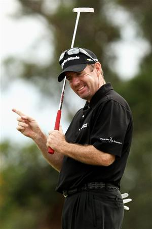MELBOURNE, AUSTRALIA - NOVEMBER 30:  Rod Pampling of Australia reacts after missing a put on the sixteenth hole during the fourth round of the 2008 Australian Masters at Huntingdale Golf Club on November 30, 2008 in Melbourne, Australia  (Photo by Quinn Rooney/Getty Images)