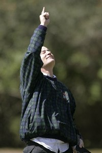 Bill Murray reacts after making his putt on the 18th green during the first round of the Outback Steakhouse Pro-Am held at TPC Tampa Bay in Lutz, Florida, on February 16, 2007. Photo by: Stan Badz/PGA TOURPhoto by: Stan Badz/PGA TOUR
