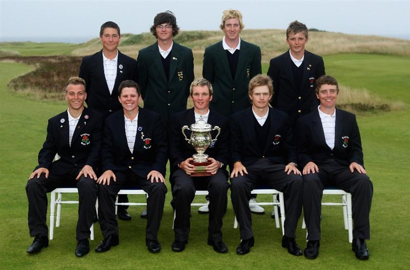 ST. ANDREWS, UNITED KINGDOM - AUGUST 30:  The Great Britain and Ireland team pose with the trophy after winning The Jacques Leglise Trophy 2008 between Great Britain & Ireland and the Continent of Europe, held at Kingsbarns Golf Club on August 29, 2008 in Fife, Scotland.  (Photo by Warren Little/Getty Images)