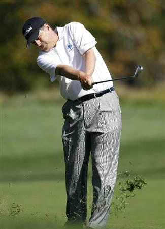 POTOMAC, MD - OCTOBER 10: Loren Roberts hits his third shot on the seventh hole during the final round of the Constellation Energy Senior Players Championship held at TPC Potomac at Avenel Farm on October 10, 2010 in Potomac, Maryland.  (Photo by Michael Cohen/Getty Images)