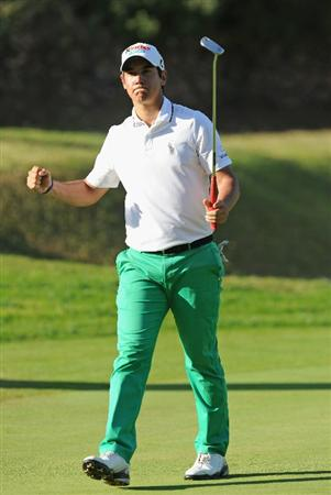 CASTELLON DE LA PLANA, SPAIN - OCTOBER 24:  Matteo Manassero of Italy celebrates his birdie putt on the 15th hole during the final round of the Castello Masters Costa Azahar at the Club de Campo del Mediterraneo on October 24, 2010 in Castellon de la Plana, Spain.  (Photo by Stuart Franklin/Getty Images)