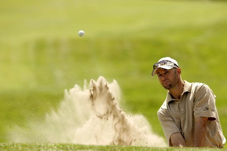 Stephen Scahill blasts out of the bunker during the first round of the 2005 KLM Open at Hilversumsche Golf Club. June 9, 2005Photo by Pete Fontaine/WireImage.com