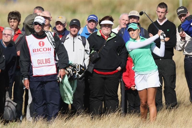 LYTHAM ST ANNES, ENGLAND - JULY 30:  Natalie Gulbis of USA hits her second shot on the 15th hole during the first round of the 2009 Ricoh Women's British Open Championship held at Royal Lytham St Annes Golf Club, on July 30, 2009 in  Lytham St Annes, England.  (Photo by David Cannon/Getty Images)