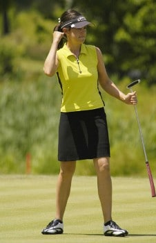 Leta Lindley reacts after a birdie on the ninth hole during the final round of the BMO Financial Group Canadian Women's Open in Halifax, NS, Sunday, July 17, 2005.Photo by Kevin Rivoli/WireImage.com