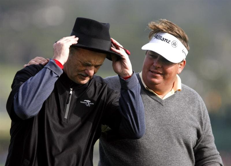 PEBBLE BEACH, CA - FEBRUARY 14: Actor Bill Murray and Tim Herron walk off the 18th hole at Pebble Beach Golf Course during the third round of the AT&T Pebble Beach National Pro-Am on February 14, 2009 in Pebble Beach, California. (Photo by Max Morse/Getty Images for Kodak)