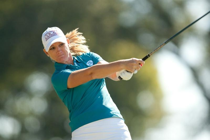 PRATTVILLE, AL - OCTOBER 7: Kristy McPherson follows through on a tee shot during the first round of the Navistar LPGA Classic at the Senator Course at the Robert Trent Jones Golf Trail at Capitol Hill on October 7, 2010 in Prattville, Alabama. (Photo by Darren Carroll/Getty Images)