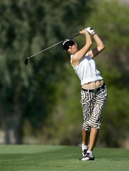 RANCHO MIRAGE, CALIFORNIA - MARCH 30:  Carin Koch of Sweden plays her second shot at the par 4, 13th hole during the second round of the 2007 Kraft Nabisco Championship held at Mission Hills Country Club Club, on March 30, 2007, in Rancho Mirage, California, United States.  (Photo by David Cannon/Getty Images)