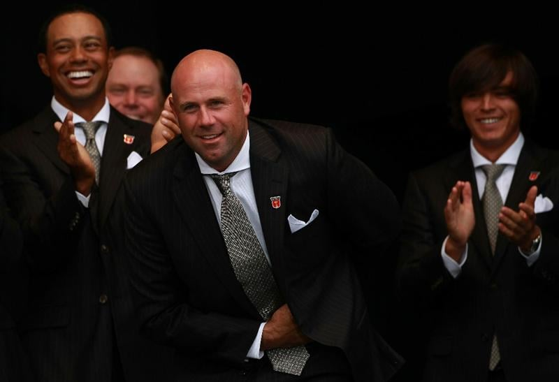 NEWPORT, WALES - SEPTEMBER 30:  Stewart Cink of the USA reacts after Team Captain Corey Pavin forgets to announce him during the Opening Ceremony prior to the 2010 Ryder Cup at the Celtic Manor Resort on September 30, 2010 in Newport, Wales.  (Photo by Andrew Redington/Getty Images)