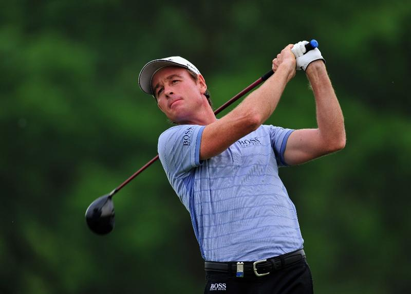 TURIN, ITALY - MAY 08:  Brett Rumford of Australia plays his tee shot on the 16th hole during the second round of the BMW Italian Open at Royal Park I Roveri on May 8, 2009 near Turin, Italy.  (Photo by Stuart Franklin/Getty Images)