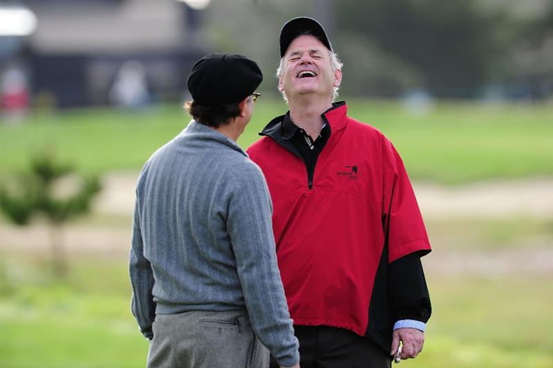 PEBBLE BEACH, CA - FEBRUARY 11:  Actors Andy Garcia and Bill Murray share a laugh during round one of the AT&T Pebble Beach National Pro-Am at Monterey Peninsula Country Club Shore Course on February 11, 2010 in Pebble Beach, California.  (Photo by Stuart Franklin/Getty Images)