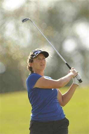 WEST PALM BEACH, FL - NOVEMBER 23:  Angela Stanford hits her second shot on the second hole during the final round of the ADT Championship at the Trump International Golf Club on November 23, 2008 in West Palm Beach, Florida.  (Photo by Montana Pritchard/Getty Images)