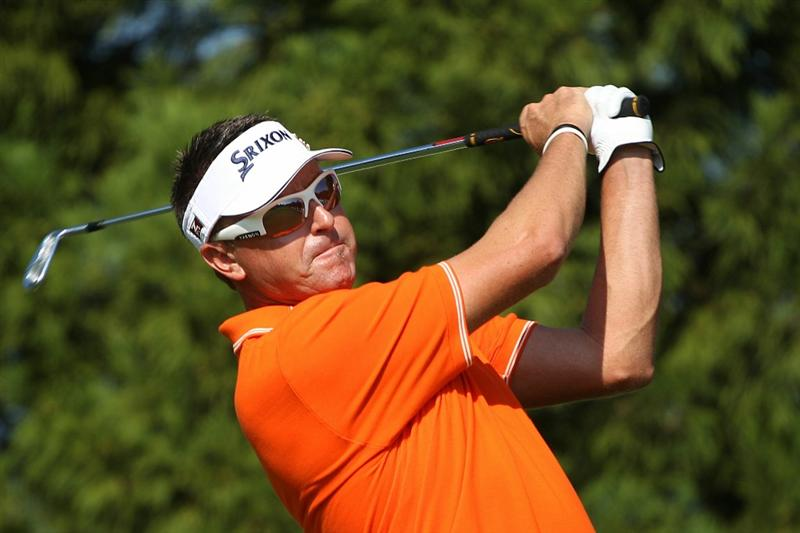 ATLANTA - SEPTEMBER 25:  Robert Allenby of Australia hits his tee shot ont he second hole during the third round of THE TOUR Championship presented by Coca-Cola at East Lake Golf Club on September 25, 2010 in Atlanta, Georgia.  (Photo by Scott Halleran/Getty Images)