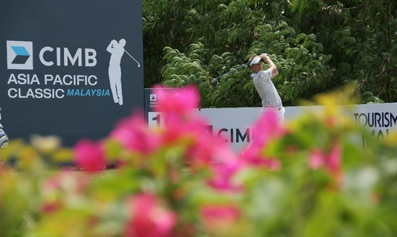 KUALA LUMPUR, MALAYSIA - OCTOBER 31: Luke Donald of England tees off on the 10th hole during day four of the CIMB Asia Pacific Classic at The MINES Resort & Golf Club on October 31, 2010 in Kuala Lumpur, Malaysia. (Photo by Stanley Chou/Getty Images)