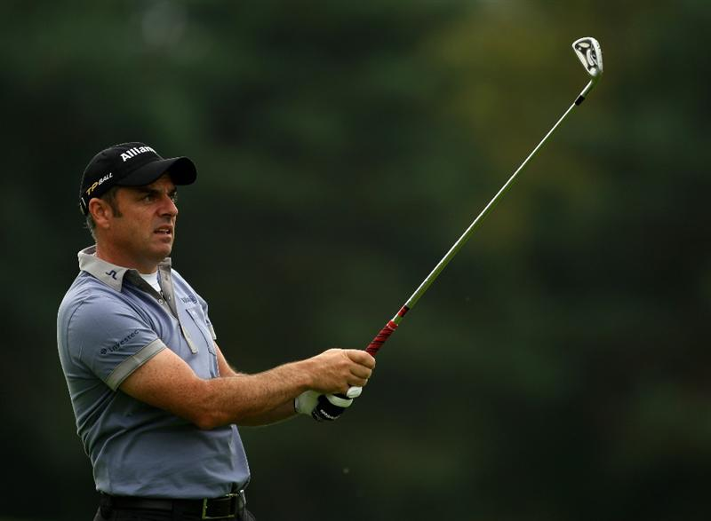 SUTTON COLDFIELD, UNITED KINGDOM - SEPTEMBER 25:  Paul McGinley of Ireland plays into the 6th green during the first round of The Quinn Insurance British Masters on The Brabazon course at The Belfry on September 25, 2008 in Sutton Coldfield, England.  (Photo by Richard Heathcote/Getty Images)