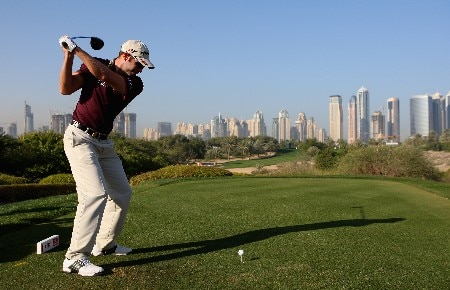 DUBAI, UNITED ARAB EMIRATES - JANUARY 30:  Bradley Dredge of Wales tees off on the eighth hole during the Pro-Am for the Dubai Desert Classic on the Majilis course at Emirates Golf Club on January 30, 2008 in Dubai, United Arab Emirates.  (Photo by Andrew Redington/Getty Images)