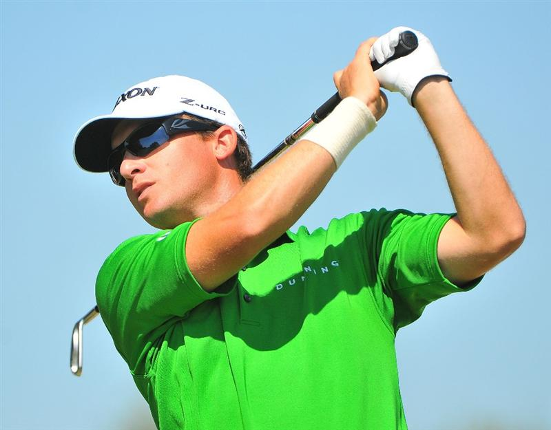 SAN ANTONIO, TX - OCTOBER 10: Kyle Thompson tees off the par three 17th hole during the second round of the Valero Texas Open  held at La Cantera Golf Club on October 10, 2008 in San Antonio, Texas. (Photo by Marc Feldman\Getty Images)