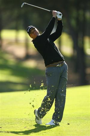 MADRID, SPAIN - OCTOBER 09:  Jarmo Sandelin of Sweden in action during the Madrid Masters at the Club de Campo Villa de Madrid on October 9, 2008 in Madrid, Spain.  (Photo by Ian Walton/Getty Images)