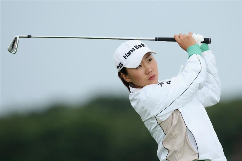 LYTHAM ST ANNES, UNITED KINGDOM - JULY 28:  In-Kyung Kim of South Korea tees off during the Pro-Am prior to the 2009 Ricoh Women's British Open Championship held at Royal Lytham St Annes Golf Club, on July 28, 2009 in  Lytham St Annes, England. (Photo by David Cannon/Getty Images)