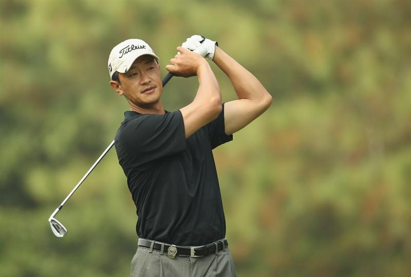 HONG KONG - NOVEMBER 19:  Anthony Kang of the USA in action during day two of the UBS Hong Kong Open at The Hong Kong Golf Club on November 19, 2010 in Hong Kong, Hong Kong.  (Photo by Ian Walton/Getty Images)