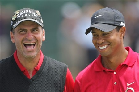 SAN DIEGO - JUNE 16:  Tiger Woods laughs with runner-up Rocco Mediate after winning on the first sudden death playoff hole during the playoff round of the 108th U.S. Open at the Torrey Pines Golf Course (South Course) on June 16, 2008 in San Diego, California.  (Photo by Doug Pensinger/Getty Images)