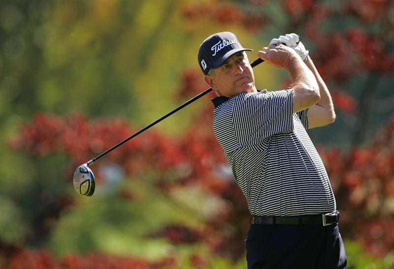 TIMONIUM, MD - OCTOBER 11:  Jay Haas watches his drive on the fifth hole during the third round of the Constellation Energy Senior Players Championship at Baltimore Country Club East Course held on October 11, 2008 in Timonium, Maryland  (Photo by Michael Cohen/Getty Images)