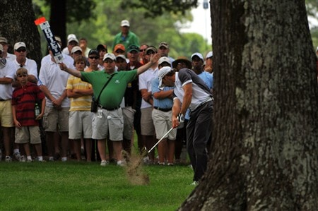 MEMPHIS, TN - JUNE 05:  Sergio Garcia blasts blasts out of the rough on the 2nd hole during the first round of the Standford St. Jude Championship on June 5, 2008 at the TPC Southwind in Memphis, Tennessee.  (Photo by Marc Feldman/Getty Images)
