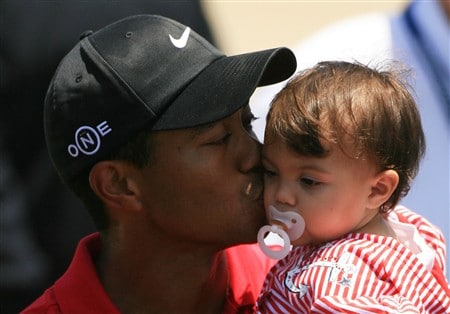 SAN DIEGO - JUNE 16:  Tiger Woods holds his daughter Sam after winning the playoff round of the 108th U.S. Open at the Torrey Pines Golf Course (South Course) on June 16, 2008 in San Diego, California.  (Photo by Travis Lindquist/Getty Images)