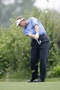 Peter Jacobsen hits a tee shot during the final round of the U.S. Senior Open at Prairie Dunes Country Club in Hutchinson,  Kansas on July 9, 2006.Photo by G. Newman Lowrance/WireImage.com