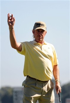 SAN DIEGO - JUNE 15:  Miguel Angel Jimenez of Spain waves to the gallery on the 13th green during the final round of the 108th U.S. Open at the Torrey Pines Golf Course (South Course) on June 15, 2008 in San Diego, California.  (Photo by Harry How/Getty Images)