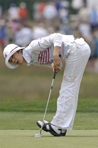 Young Kim misses a putt on the 18th green  during the third round  at Newport Country Club, site of the 2006 U. S. Women's Open in Newport, Rhode Island, July 2.Photo by Al Messerschmidt/WireImage.com